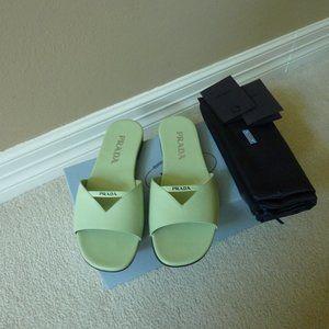 PRADA Leather Logo Strap Slide Sandals 6.5 (Green)